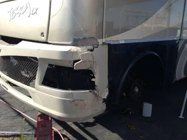 front fiberglass bumper damage